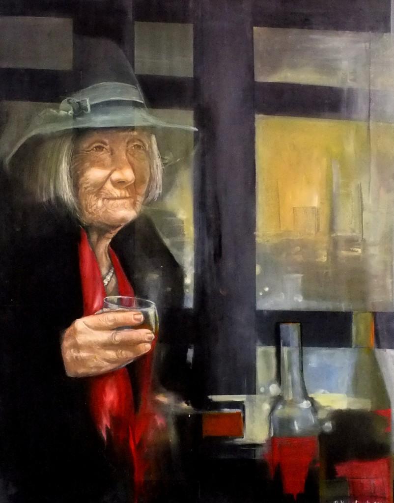 Renata Kowalczyk, Stare Wino, 80 x 90, 2018,-tech mieszana